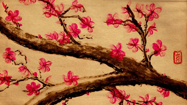 drawing, Sakura, Flowers, tree, BRANCH