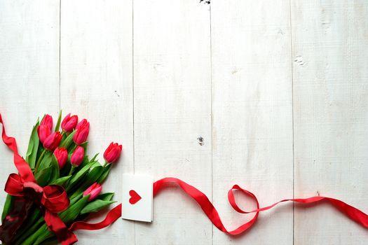 бантик, открытка, сердечко, лента, День Святого Валентина, праздник, тюльпаны, цветы