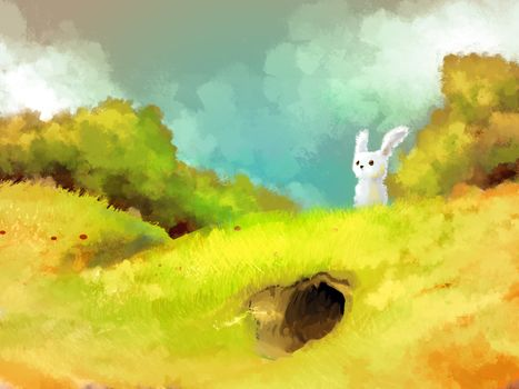animal, hare, Art, grass, burrow, nipple