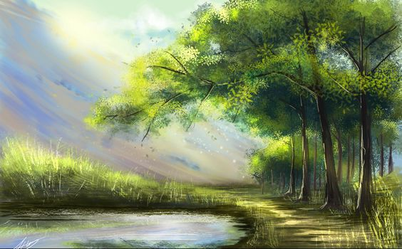 landscape, Art, Rays, forest, lake, trees, nature, painting