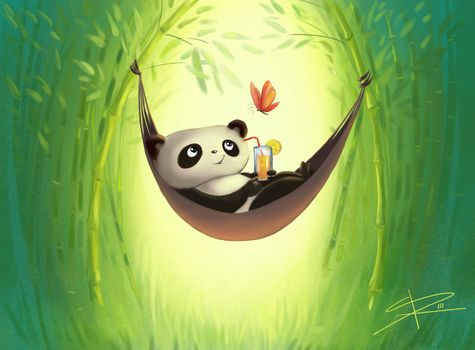 drawing, recreation, butterfly, drink, panda, bamboo, hammock