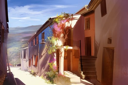sunny, home, town, Portugal, Art, street