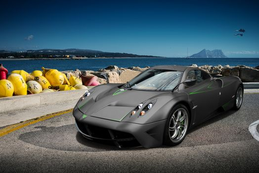 wind, car, a mid-, exclusive, aircraft, sea, Supercar, embankment, stones, buoys, sports, Other brands, Pagani Wyre, sky