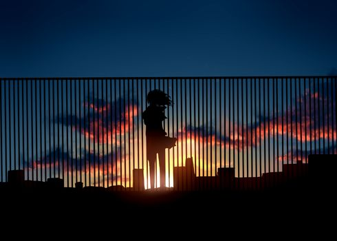 fence, Art, sunset, silhouette, home, clouds, girl, anime, sun, sky