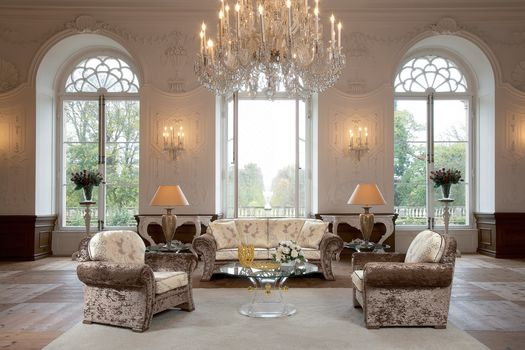 design, table, chair, sofa, interior, large windows, house-castle, lamp, chandelier, furniture, vase, Roses, style
