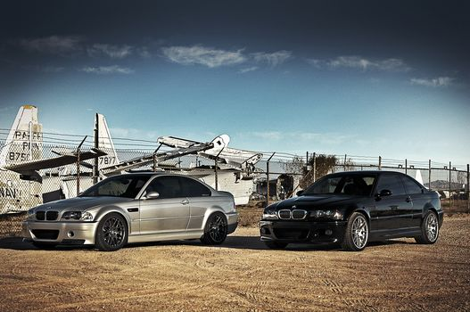 black, silver, BMW, aircraft, BMW, sky, clouds