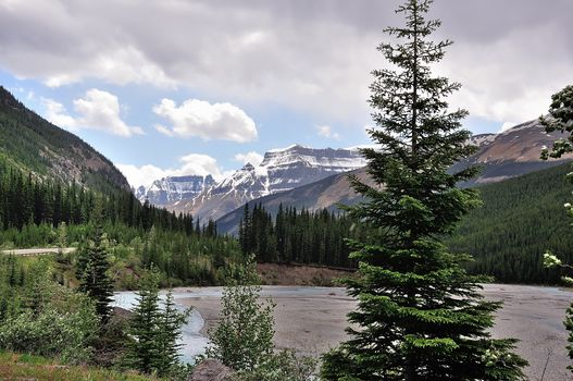 Mountains, river, trees, landscape