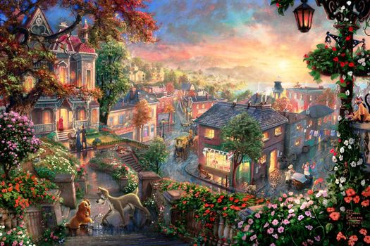 lantern, heart, cocker, sunset, lady, rich, Cartoon, city, cats, painting, Tramp, Thomas Kinkade, Victorian, Flowers, home, mongrel, quarter, love