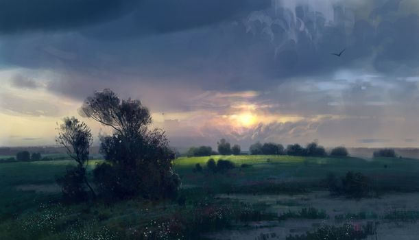 painted landscape, clouds, bush, DAWN, Flowers, morning, meadow, bird