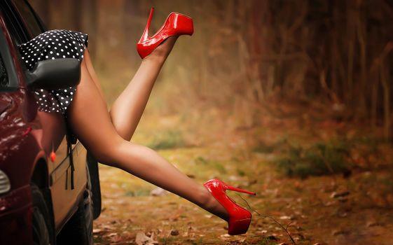 девушка, ноги, туфли, автомобиль, забывчивость