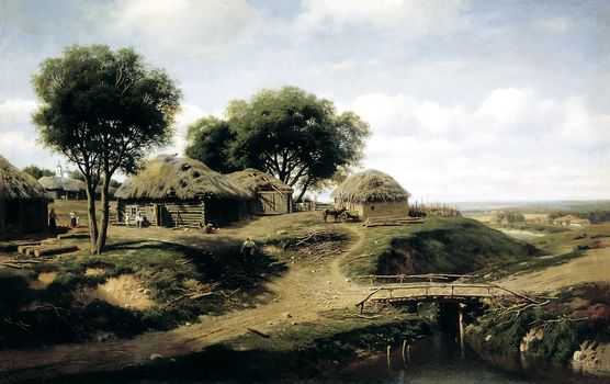 art, picture, landscape, canvas, A village in the province of Orel, Clodt, painting