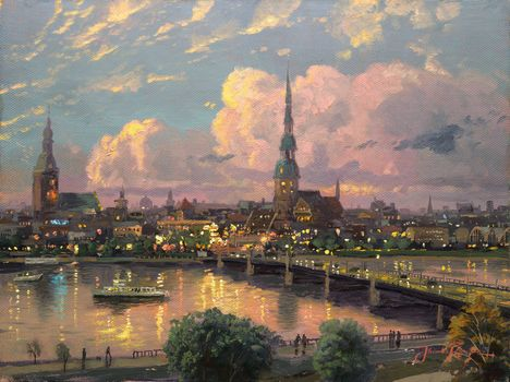 bridge, painting, spire, area, Daugava, medieval, Cathedral, city, great, river, old, Europe, Riga, sunset, Thomas Kinkade, steeple of St. Peter's, The Dome Cathedral