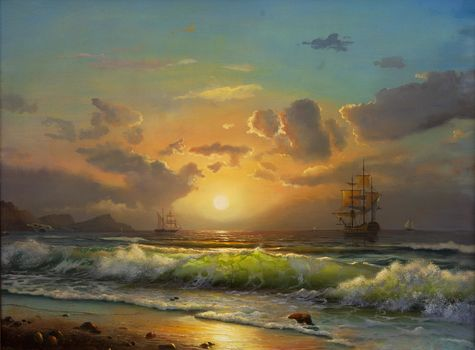 painting, shore, sail, Sea. wave. ships, sky. clouds