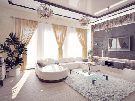 sofa, room, windows, interior, design