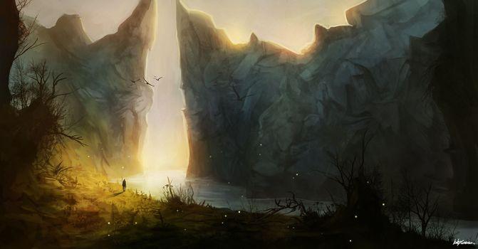 Mountains, man, canyon, sun, river, Art, Rocks, landscape
