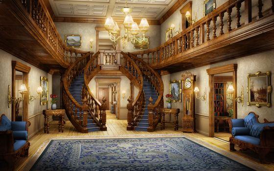 chandelier, pictures, bookcase, interior, hall, ladder, carpet, light, Art