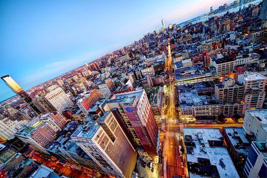 город, Манхэттен, панорама, дорога, крыши, огни, США, небоскребы, Мидтаун, здания, Нью-Йорк, вечер
