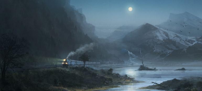 night, moon, Mountains, train