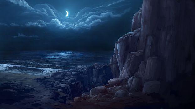 Art, Rocks, clouds, month, shore, night, sea