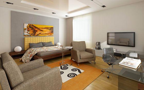 studio, TV, bed, table