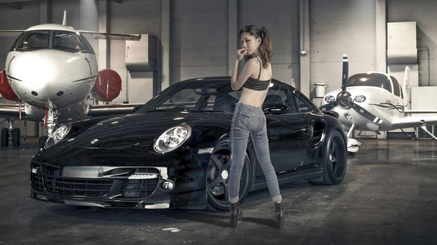 aircraft, Asian, jeans, hangar, girl, Porsche