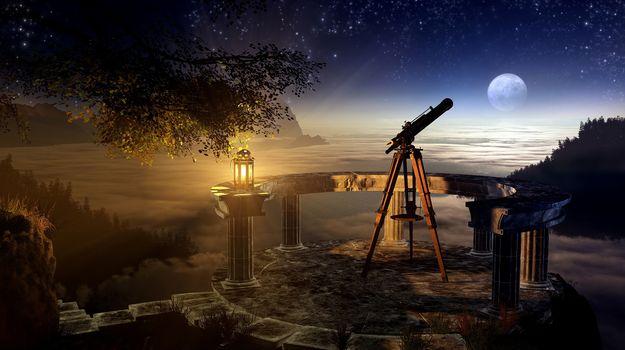 ветвь, дерево, ночь, лампа, телескоп, небо, трава, звёзды, залив, луна