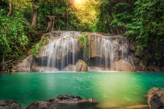 деревья, обработка, таиланд, поток, каскад, камни, джунгли, водопад, лес, река