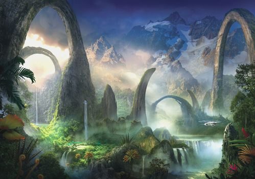 greens, water, landscape, helicopter, Art, fantasy world, waterfalls, Arch, plants, Mountains
