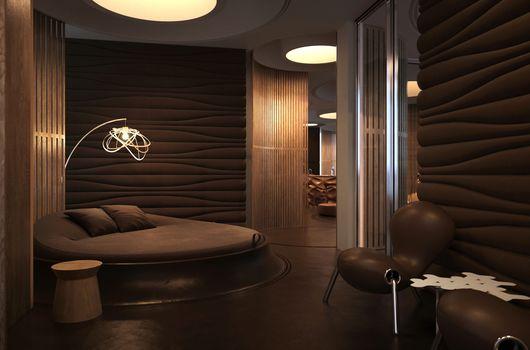 interior, bed, chair, BEDROOM, chandelier, style.