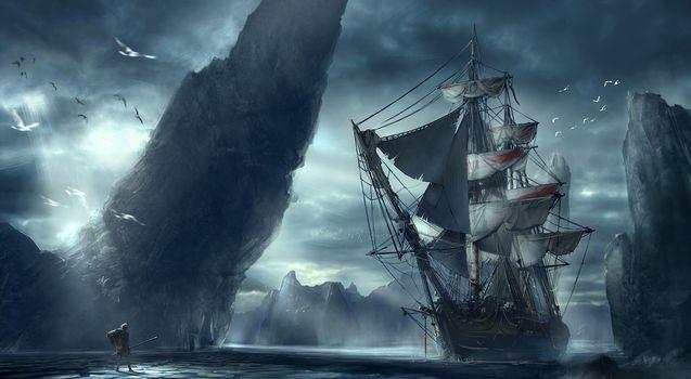ship, man, mountain, sea, landscape
