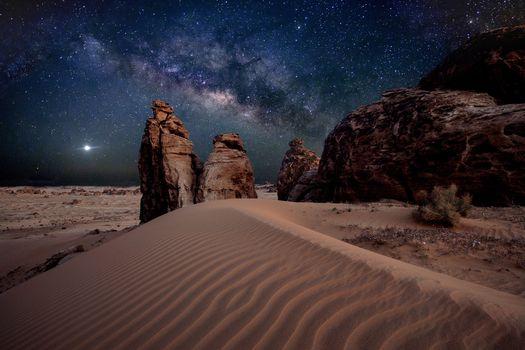 пустыня, песок, Млечный путь, камни, звезды