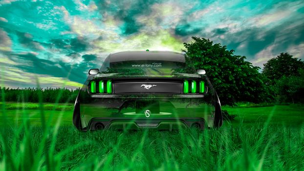 Tony Kokhan, ford, mustang, gt, Crystal, car, nature, muscle, green, grass, el Tony Cars, photoshop, design, Tony Cohan, Photoshop, style, ford, mustang, Jeet, back view, muscle car, Transparent, machine, GREEN, grass, nature, On