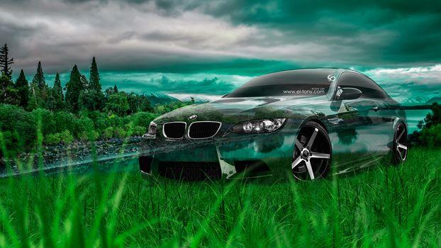 Tony Kokhan, BMW, M3, E92, Crystal, nature, car, green, grass, el Tony Cars, photoshop, art, HD wallpapers, Tony Cohan, Photoshop, BMW, M3, Emka, E92, Transparent, machine, transparent, Car, nature, GREEN, grass, wallpaper, Art, Steele