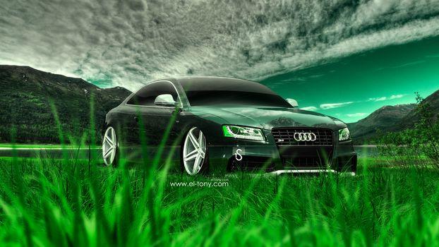 Tony Kokhan, Audi, S5, Crystal, car, nature, tuning, green, grass, style, photoshop, el Tony Cars, Tony Cohan, Photoshop, Audi, Five Es, Transparent, style, nature, GREEN, grass, tuning, wallpaper