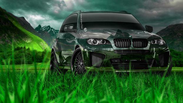 Tony Kokhan, BMW, X5, Crystal, nature, green, grass, el Tony Cars, Jeep, Crossover, photoshop, art, HD wallpapers, Tony Cohan, Photoshop, BMW, X 5, X5, Transparent, machine, nature, grass, GREEN, Mountains, wallpaper, Art, 2014