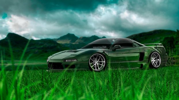 Tony Kokhan, NSX, JDM, Crystal, Nature, Car, Green, Grass
