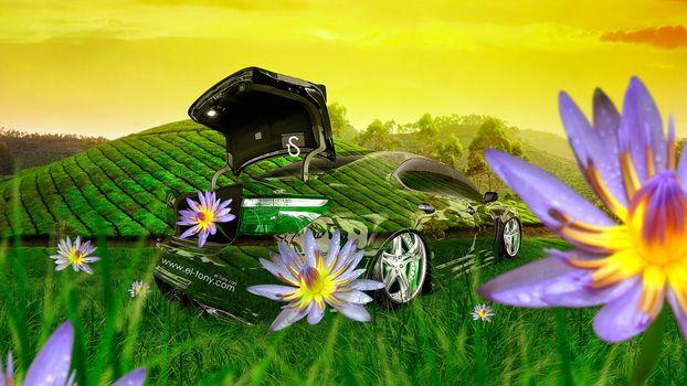 Tony Kokhan, Lexus, LS460, Crystal, nature, style, green, grass, flowers, Open, fantasy, photoshop, el Tony Cars, Tony Cohan, Photoshop, style, Lexus, transparent, Transparent, nature, grass, GREEN, Flowers, wallpaper