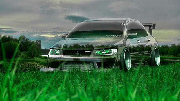 Tony Kokhan, Mitsubishi, Lancer, Evolution, Crystal, Nature, Green, Grass