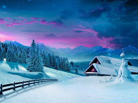 winter, landscape, snow, winter, snow, Christmas trees, hut, village