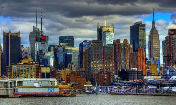 США, Манхэттен, небоскребы, подсветка, небо, Нью-Йорк, город, здания