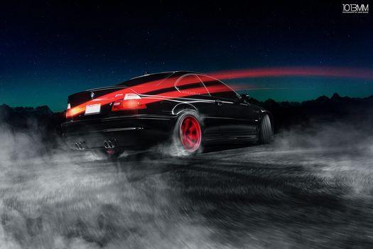 BMW, M3, E46, Drifting, red, wheels, car, road
