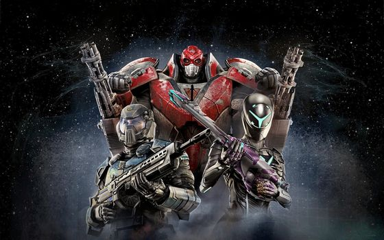 Planetside 2, cosmonauts, friends, spacesuits, pose, action