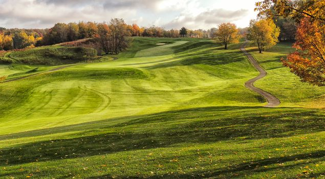 autumn, field, Hills, road, trees, landscape, Golf