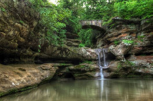 waterfall, Rocks, arch, trees, pond, nature