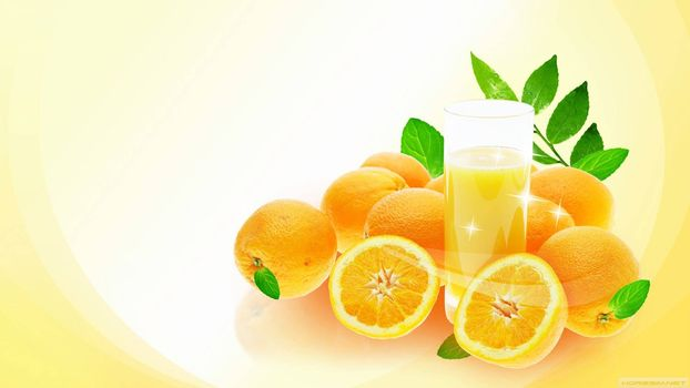oranges, glass, juice
