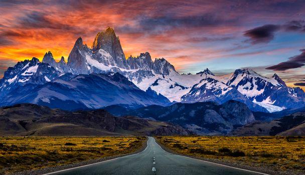 закат, горы, дорога, поле, пейзаж, Andes, Patagonia, Argentina