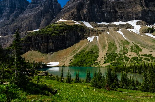 Iceberg Lake, Glacier National Park, Mountains, lake, trees, landscape