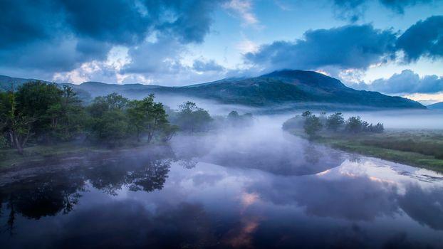 Afon Glaslyn, Wales, England, Река Гласлин, Уэльс, Англия, река, горы, холмы, туман, утро