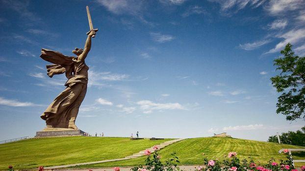 Russia, Volgograd, motherland, ussr, monument, statue, monument, Mamaev Kurgan, city, sword, sky