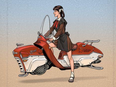 СССР, девочка, пионерка, транспорт, прикол